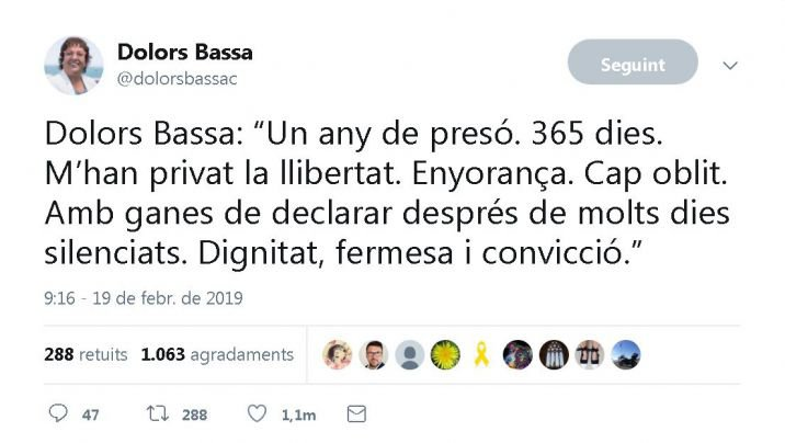 Un any de l'empresonament de Dolors Bassa